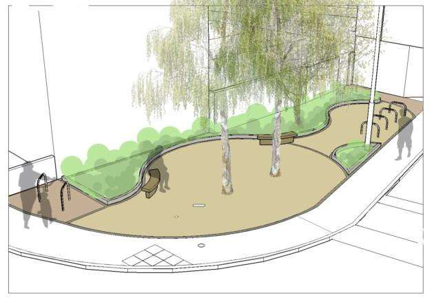 The landscaping plan for the corner of Mill Road and Cavendish Road in Cambridge
