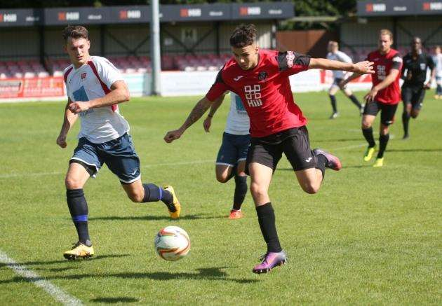 Joe Sutton scored for Histon against Long Melford. Picture: Rich Marsham