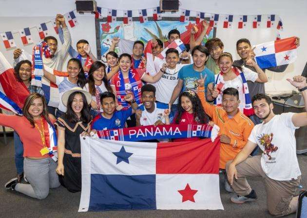 Panamanian supporters at Anglia Ruskin University. Picture: Keith Heppell