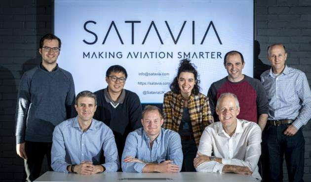 The Satavia team at Eagle Labs in Cambridge, with founder/CEO Dr Adam Durant seated centre. Picture: Keith Heppell