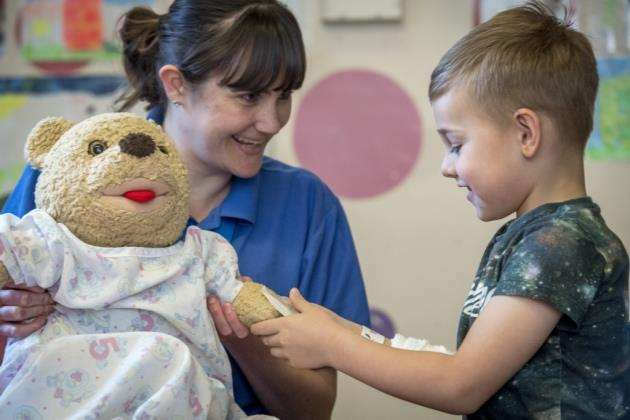 Addenbrookes Hospital, Hills Rd, Cambridge, play specialists, Vicki Brown with Jasper Mosedale 5. Picture: Keith Heppell
