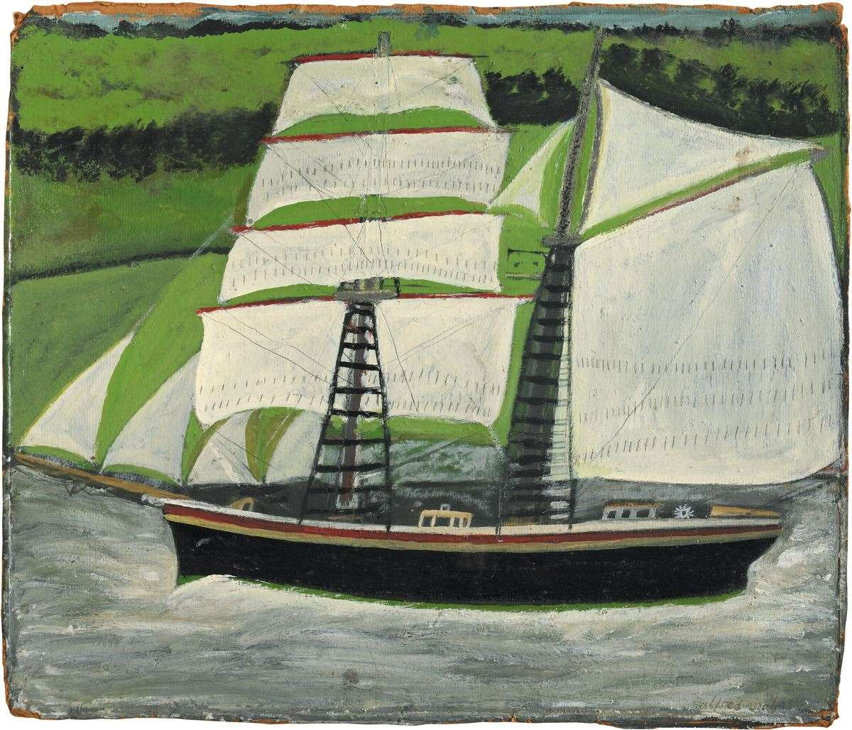 Alfred Wallis, Brigantine sailing past green fields (42536621)