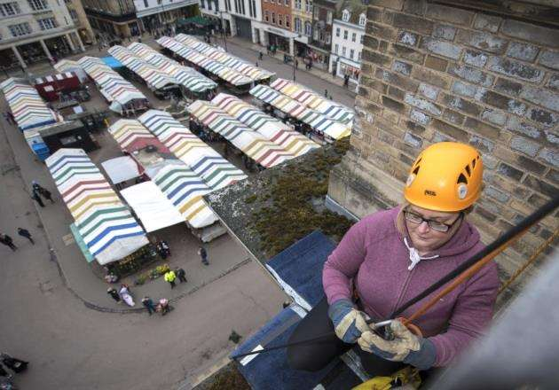 Culture Editor Gemma Gardner on the edge of the Guildhall. Picture: Keith Heppell