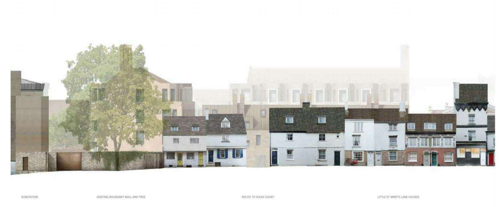 Little St Mary's Lane -- part of the Pembroke College proposed development. Images: Haworth Tompkins (6926410)