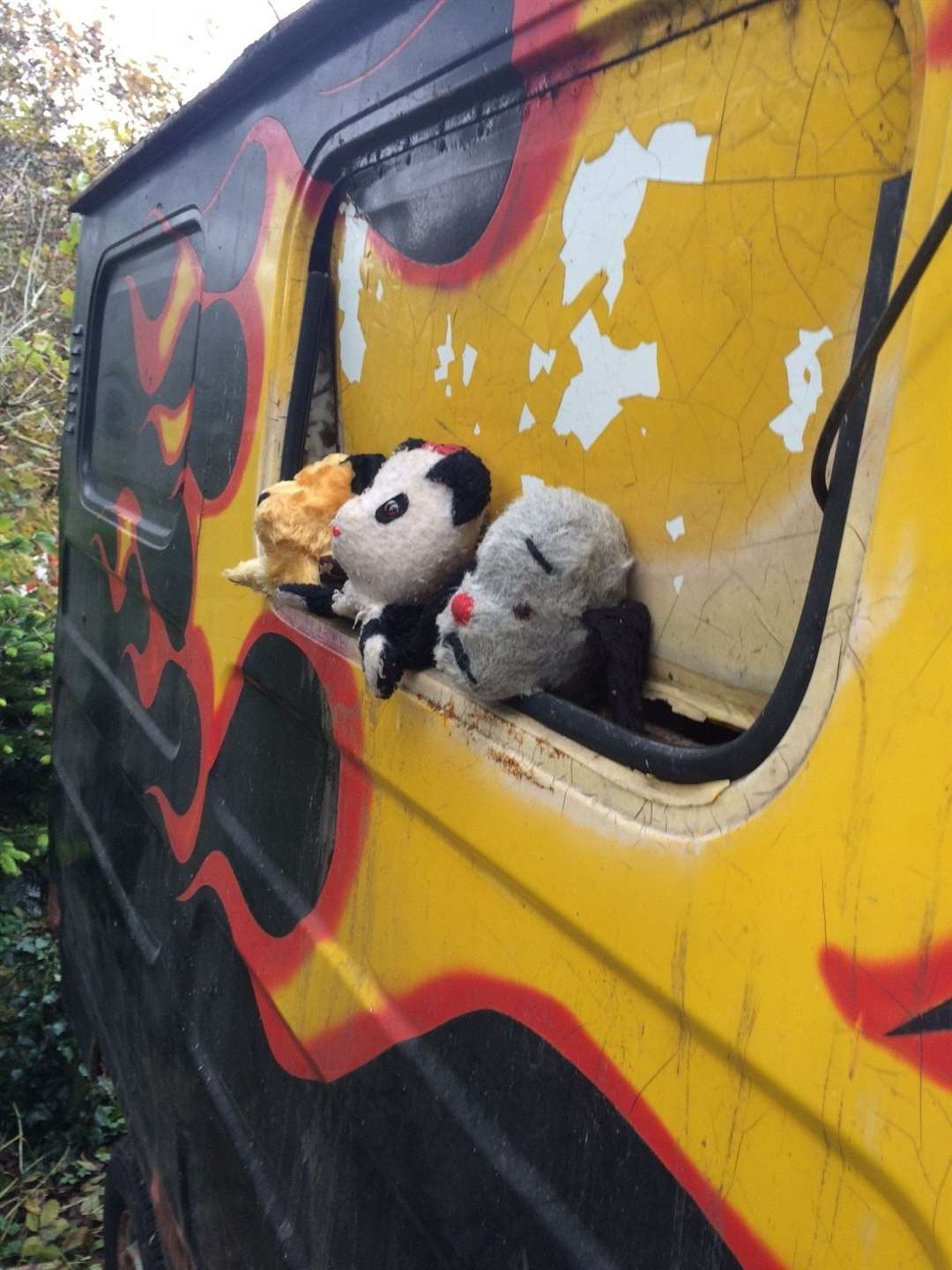 Enjoying a last outing in the TV mobile van are Sooty, Sweep and Soo.