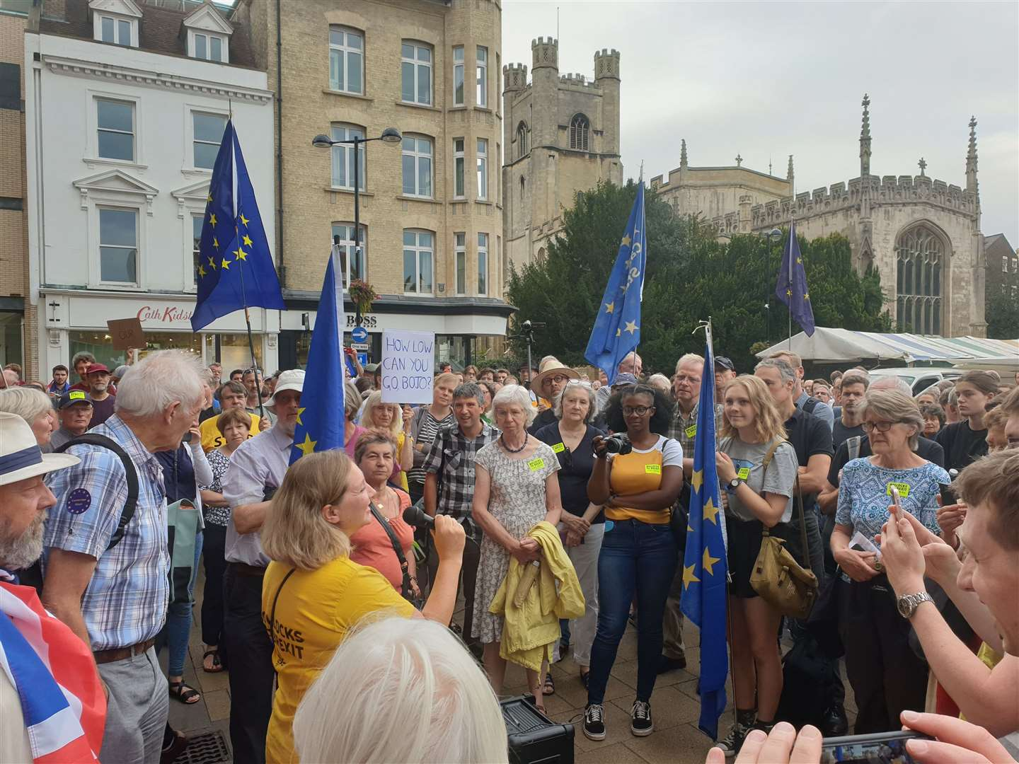 Hundreds of Cambridge residents take to Market Square to vent their fury at Johnson's bid to force through No Deal exit by shutting parliament (15891450)