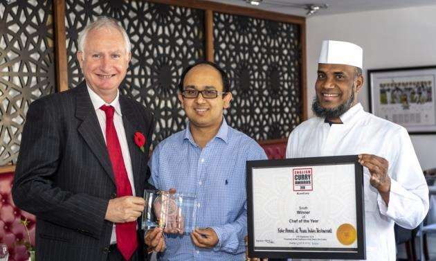 Daniel Zeichner MP visiting Prana. From left, Daniel Zeichner MP with owner Kobir Ahmed and MD Faruk-Baksh, head chef. Picture: Keith Heppell