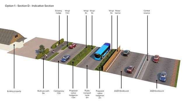 An illustration of how the GCP's proposed busway would create a new road layout in front of residents' homes