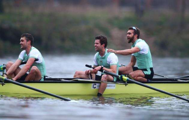 Dara Alizadeh, right, as the Cambridge University Mens Boat Club Blue crew celebrate race victory over Oxford University Mens Boat Club Blue crew during The Cancer Research UK Mens Boat Race 2018 on March 24, 2018 in London, England. (Photo by Naomi Baker/Getty Images)