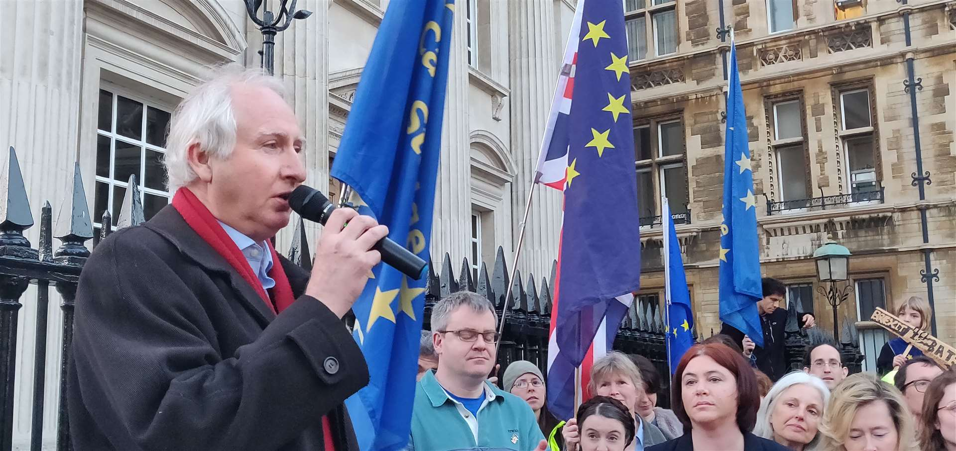 Daniel Zeichner MP addresses the Brexit Day rally in Cambridge. Picture: Keith Heppell (8156118)