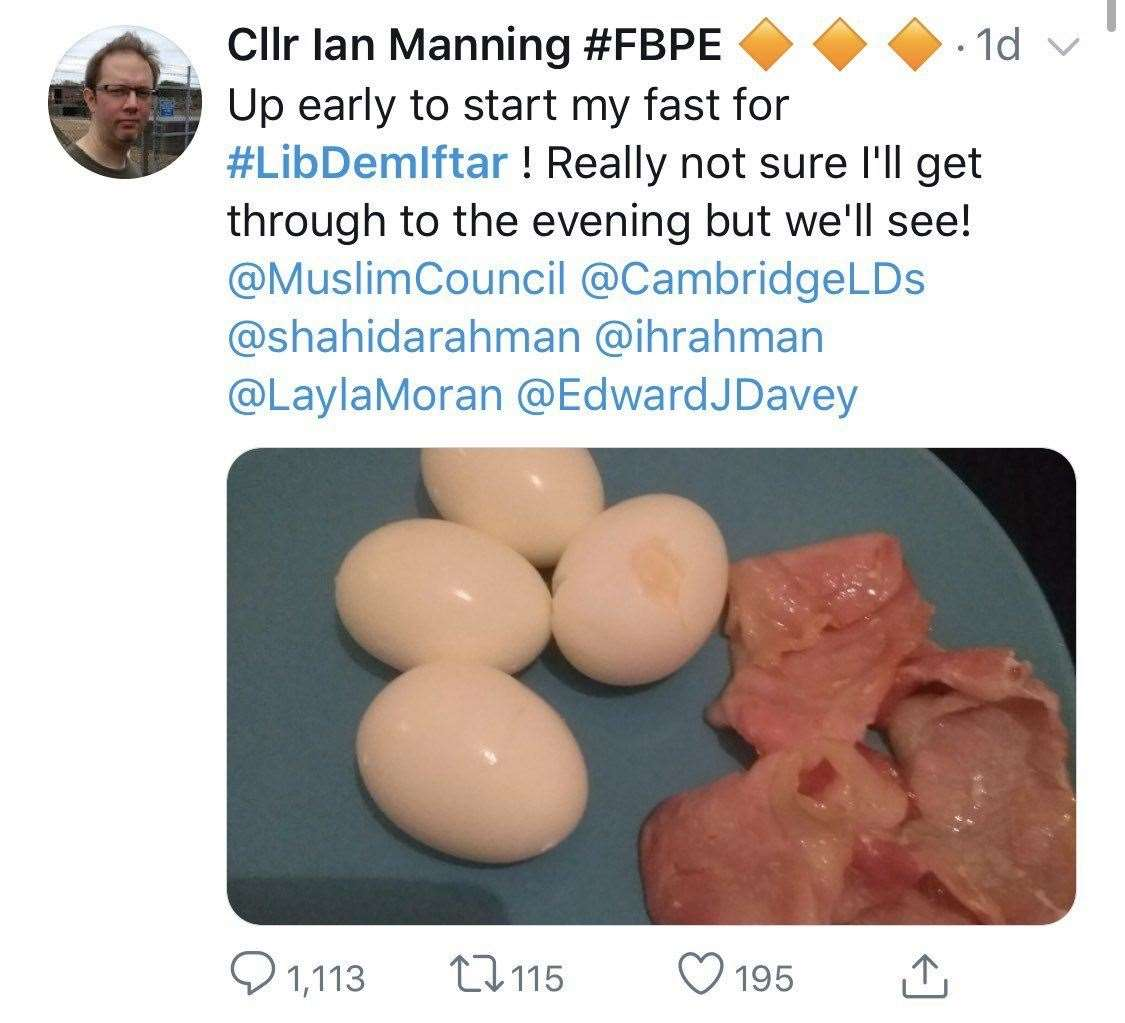 Cambridgeshire councillor apologises after tweeting bacon picture ...