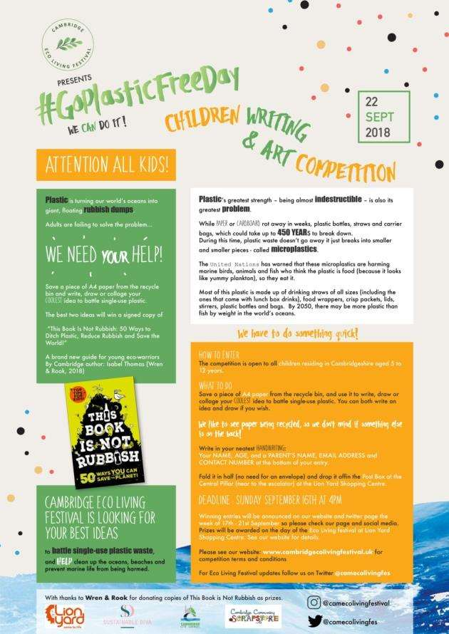 Go Plastic Free Day childrens competition for Cambridge Eco Living Festival