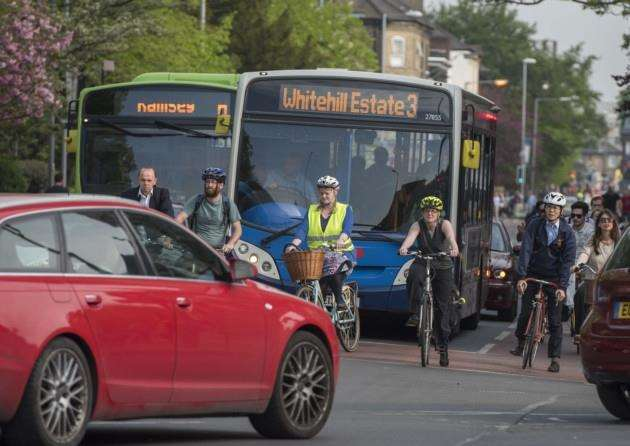 10 05 16 General views Cambridge. Cyclists, traffic congestion, groups of cyclists buses, Hills Rd, Catholic church junction. Picture: Keith Heppell