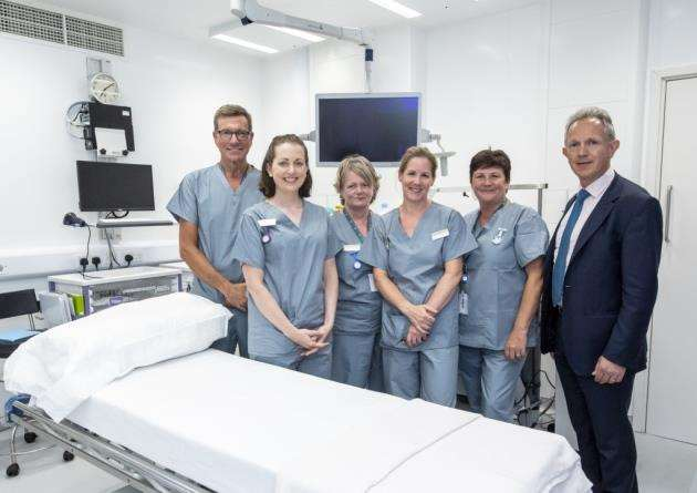 Spire Cambridge Lea Hospital CEO Justin Ash, right, with some of the staff at the new £7m endoscopy unit. Picture: Keith Heppell