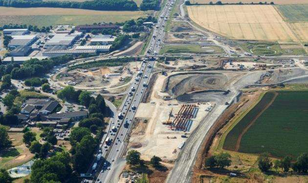Work on the A14 at Bar Hill where new bridges are being built
