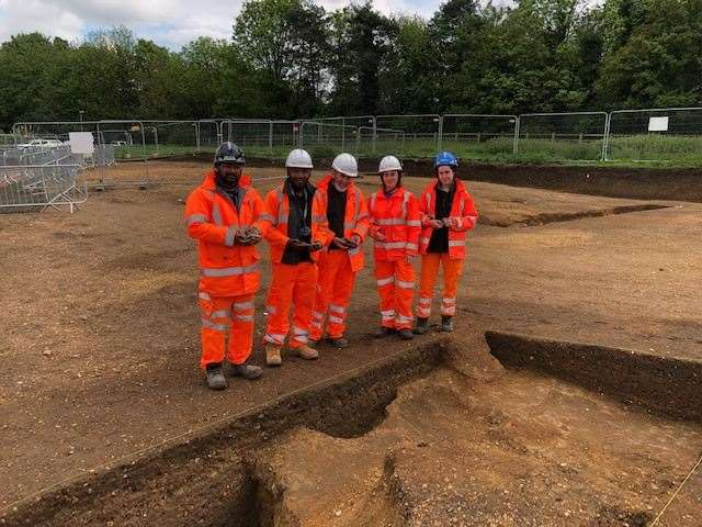 Preparing for Archaeological open days on the A14 in Huntingdon in summer 2018. Picture: Highways England