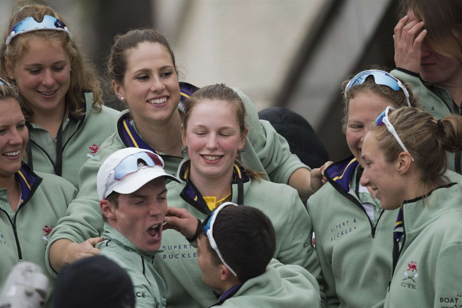Lily Lindsay, back row middle, celebrates the Light Blues success with Cambridge University Boat Club cox Matthew Holland and crewmates. Picture: Paul Sanwell/OP Photographic. (8320333)