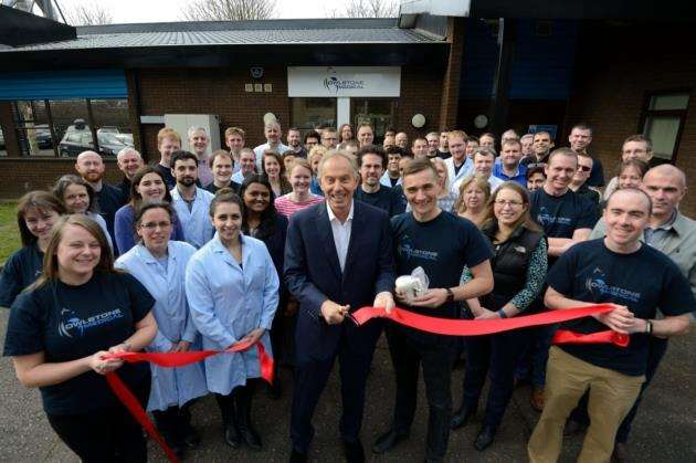 Tony Blair opening new high volume breath biopsy lab for Owlstone Medical.