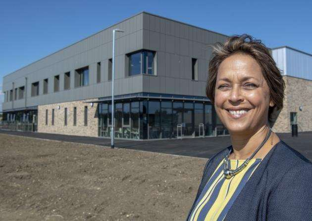 Principal Jenny Rankine outside Bottisham Village Colleges new extension. Picture: Keith Heppell