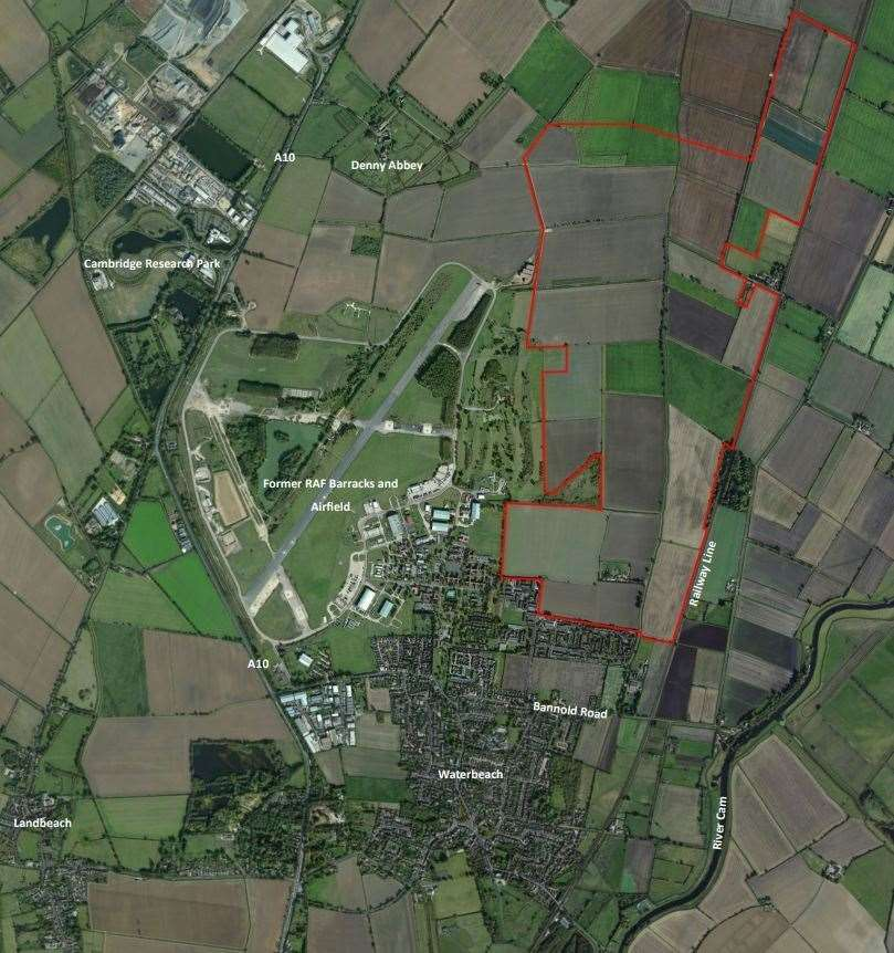 Waterbeach New Town - an aerial of the site. Image: LDA Design/RLW Estates/Google Maps