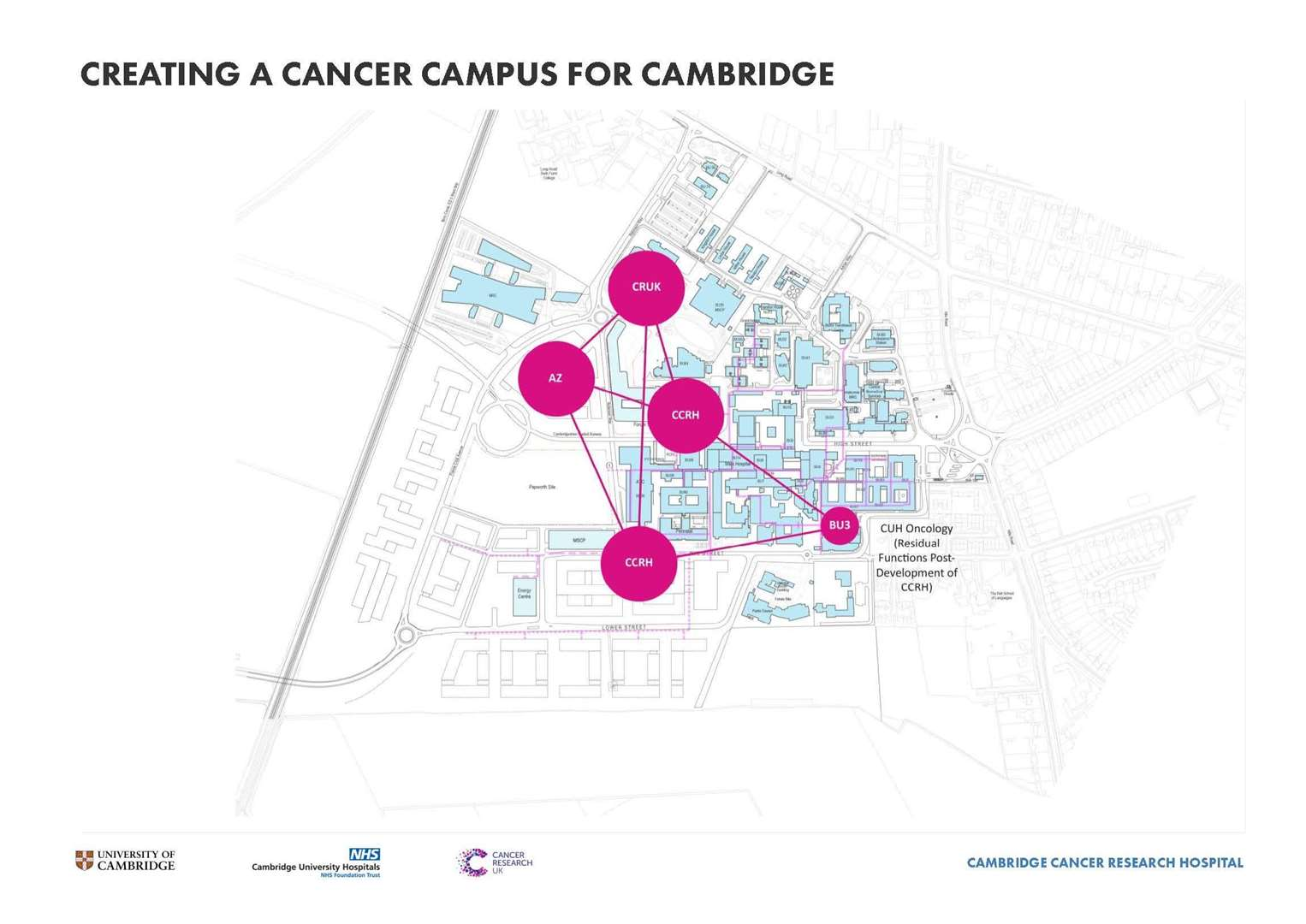 The location of the Cancer Research Hospital on the Cambridge Biomedical Campus. Image: Northmores (7508173)