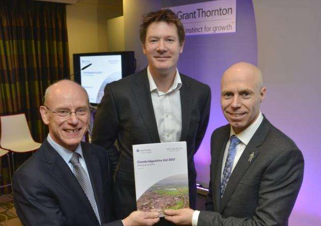 Darren Bear, of Grant Thornton, back, with Grant Thornton director and report author Paul Brown, right, and Ian Mather, of Mills & Reeve