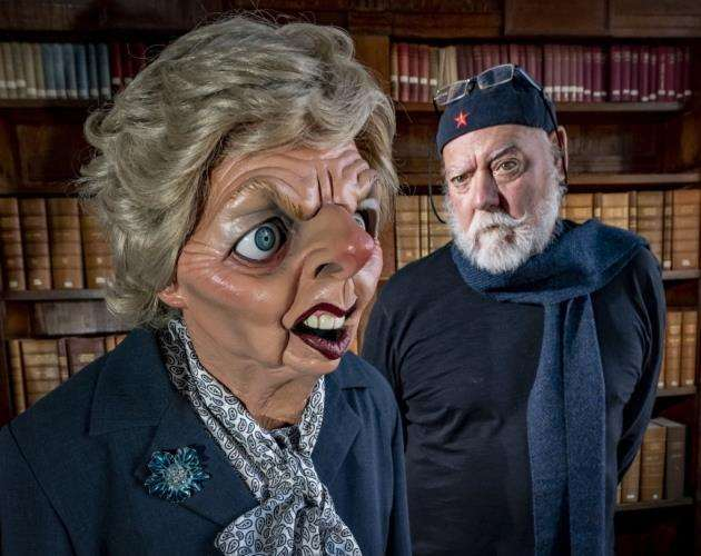 Roger Law with the Spitting Image character of Margaret Thatcher. Picture: Keith Heppell