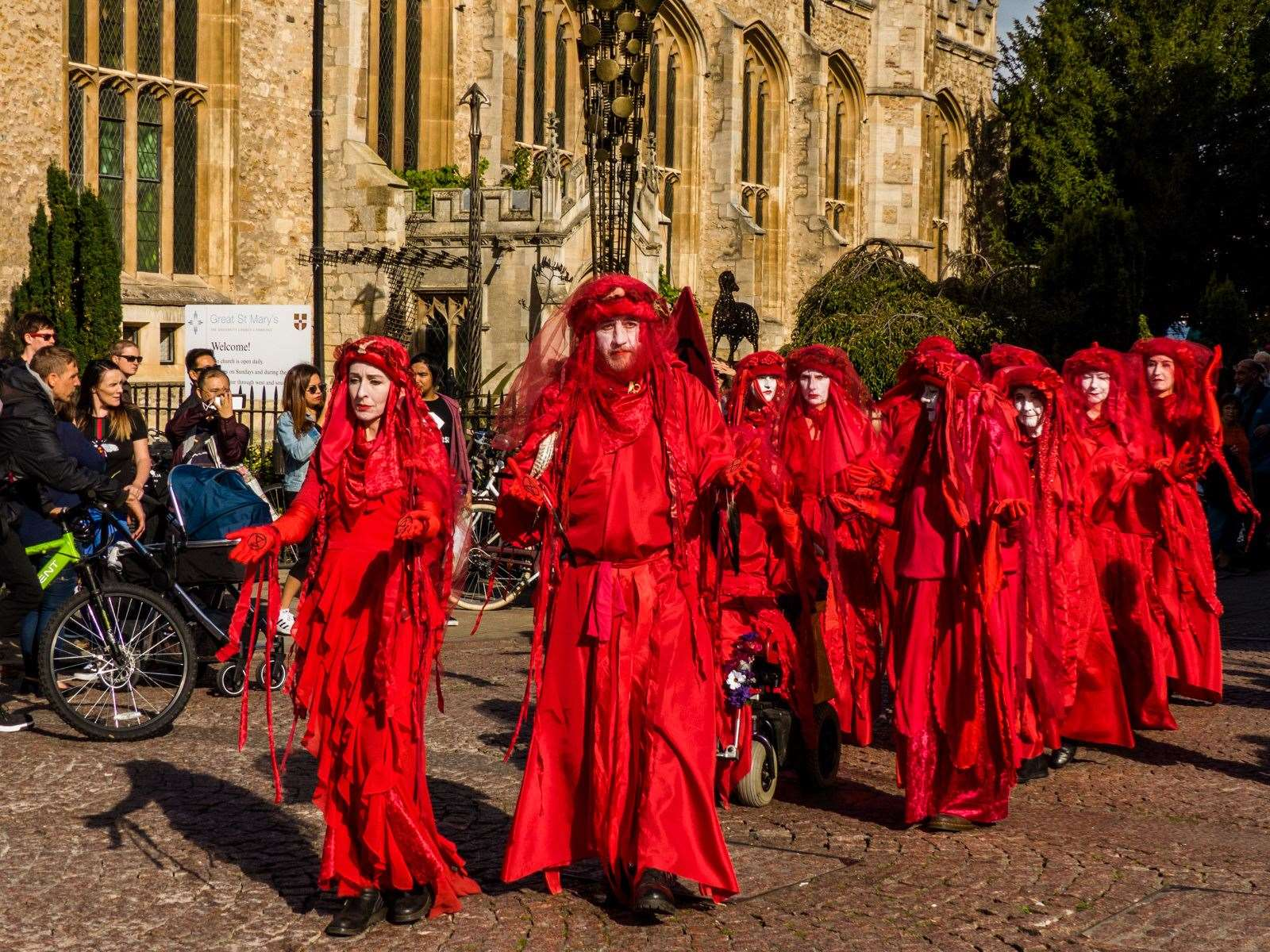 Red Rebels on the 'Funeral for Life' walk in Cambridge, September 28, 2019. Derek Langley