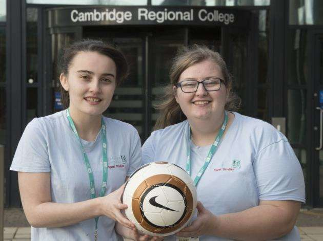 Sports Studies students at Cambridge Regional College, from left, Katie Brandon, 18 and Emily Brown, 19, are hoping to raise hundreds of pounds for the Brain Tumour Charity. Picture: Keith Heppell