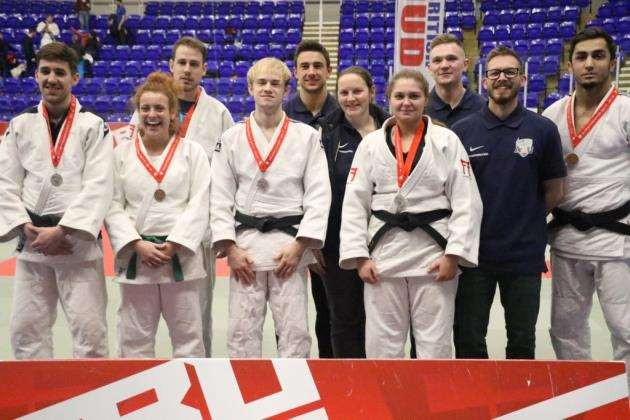 Anglia Ruskin University judo team with their medals at the BUCS Championships.