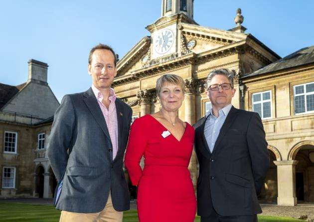 From left, The Cambridge Building Society finance director Peter Burrows, with Dr Lynn Morgan, chief executive of Arthur Rank Hospice, and Neil Perry, CEO of Romsey Mill. Picture: Keith Heppell
