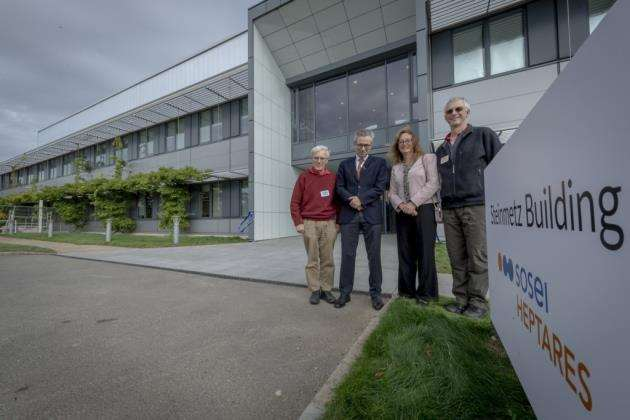 Heptares Therapeutics founders at The Steinmetz Building, from left, are Richard Henderson MRC, Malcolm Weir, chief R&D officer of Sosei Heptares, Fiona Marshall MSD and Chris Tate. Picture: Keith Heppell