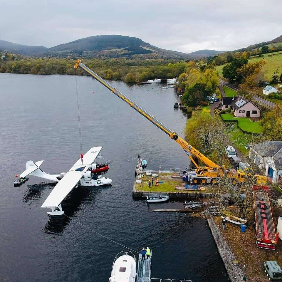 The Catalina being lifted at Loch Ness. Picture: Stoddart Crane Hire Ltd (44208005)