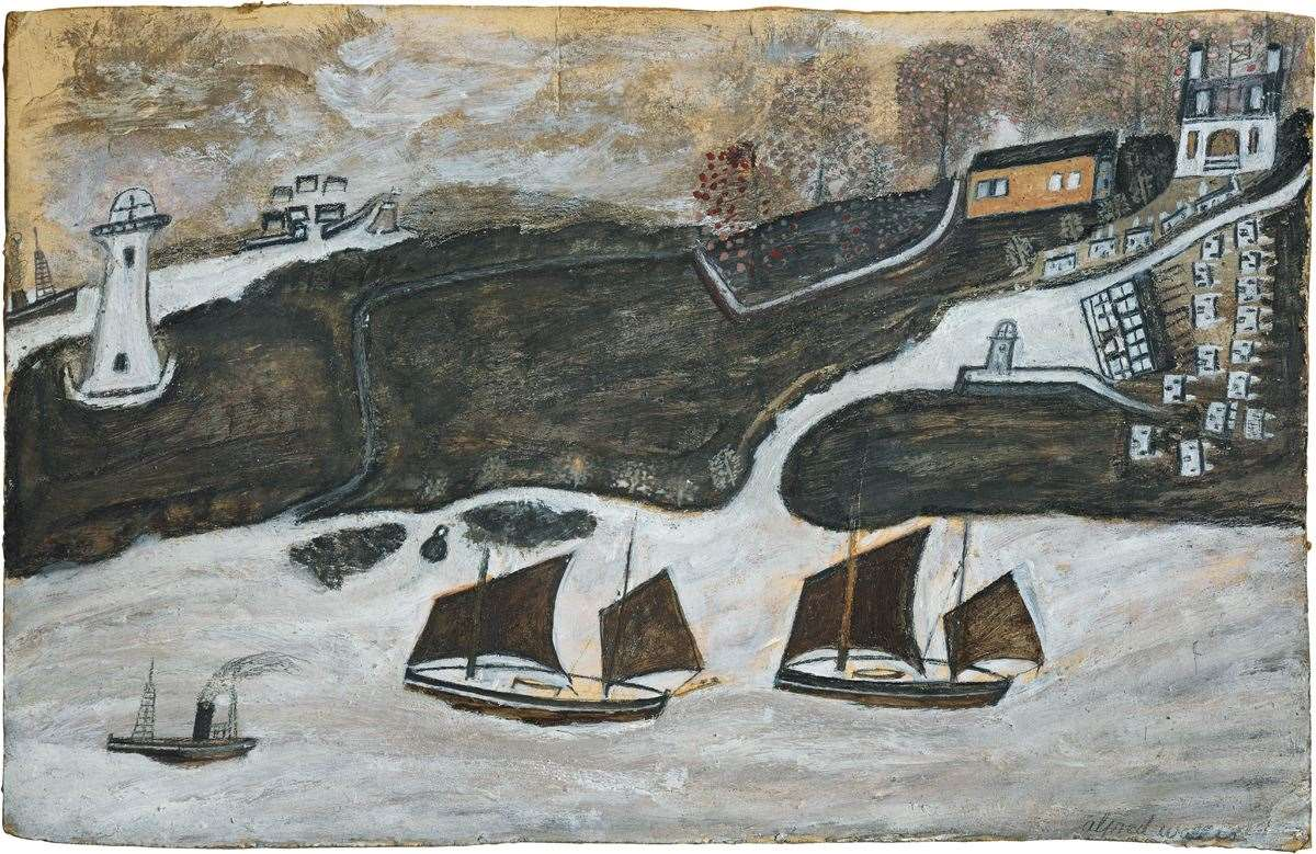 Alfred Wallis,Two ships and steamer sailing past a port – Falmouth and St. Anthony lighthouse (42536618)