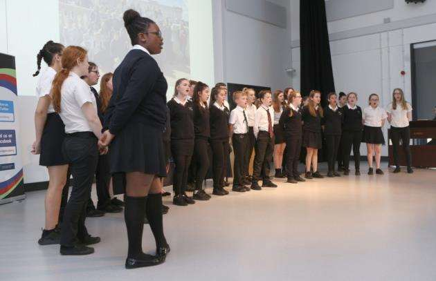 The school choir performs during a tour of the North Cambridge Academy to mark five years since it transformed from The Manor School.Picture : Richard Marsham