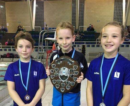 From left, Zia Gordon, Rufus Bord and Amelia Aldridge in the novice section of Cambridge Dive Team's Harley Winster Gala Trophy. (6371675)