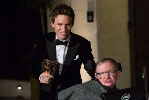 Professor Stephen Hawking with Eddie Redmayne who played him in The Theory of Everything.