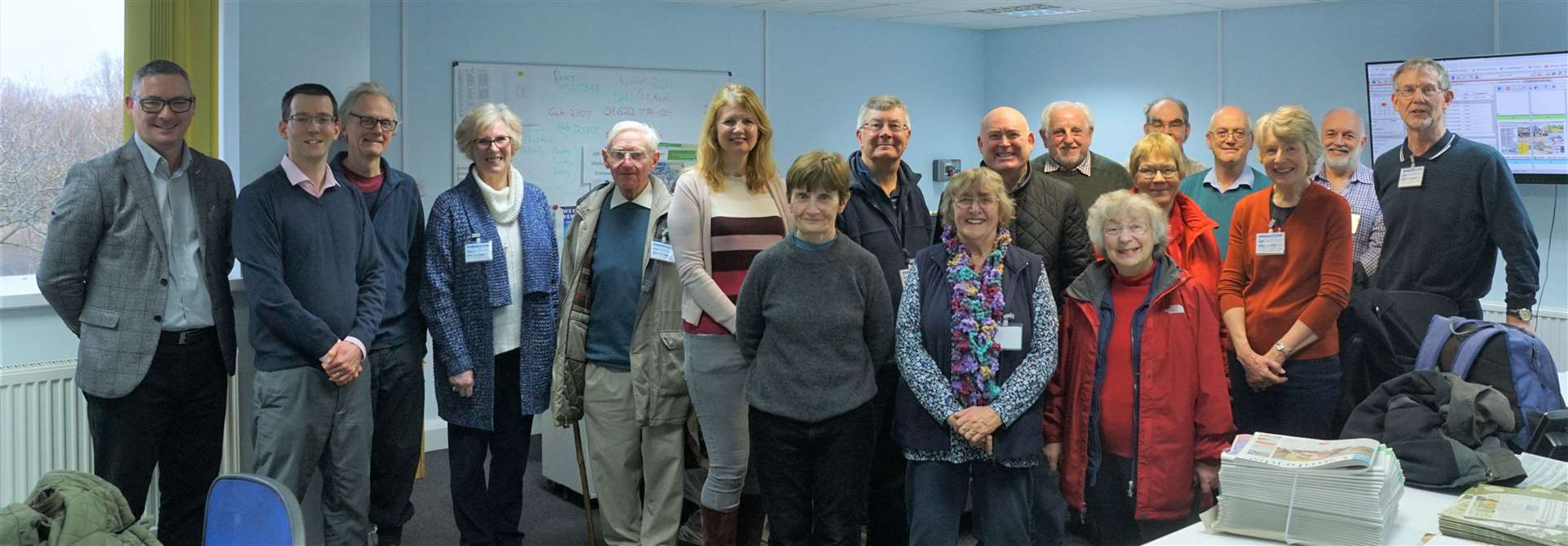 A group from the University of the Third Age in the Cambridge Independent newsroom with, far left, MD Ricky Allan and editor Paul Brackley (28358805)