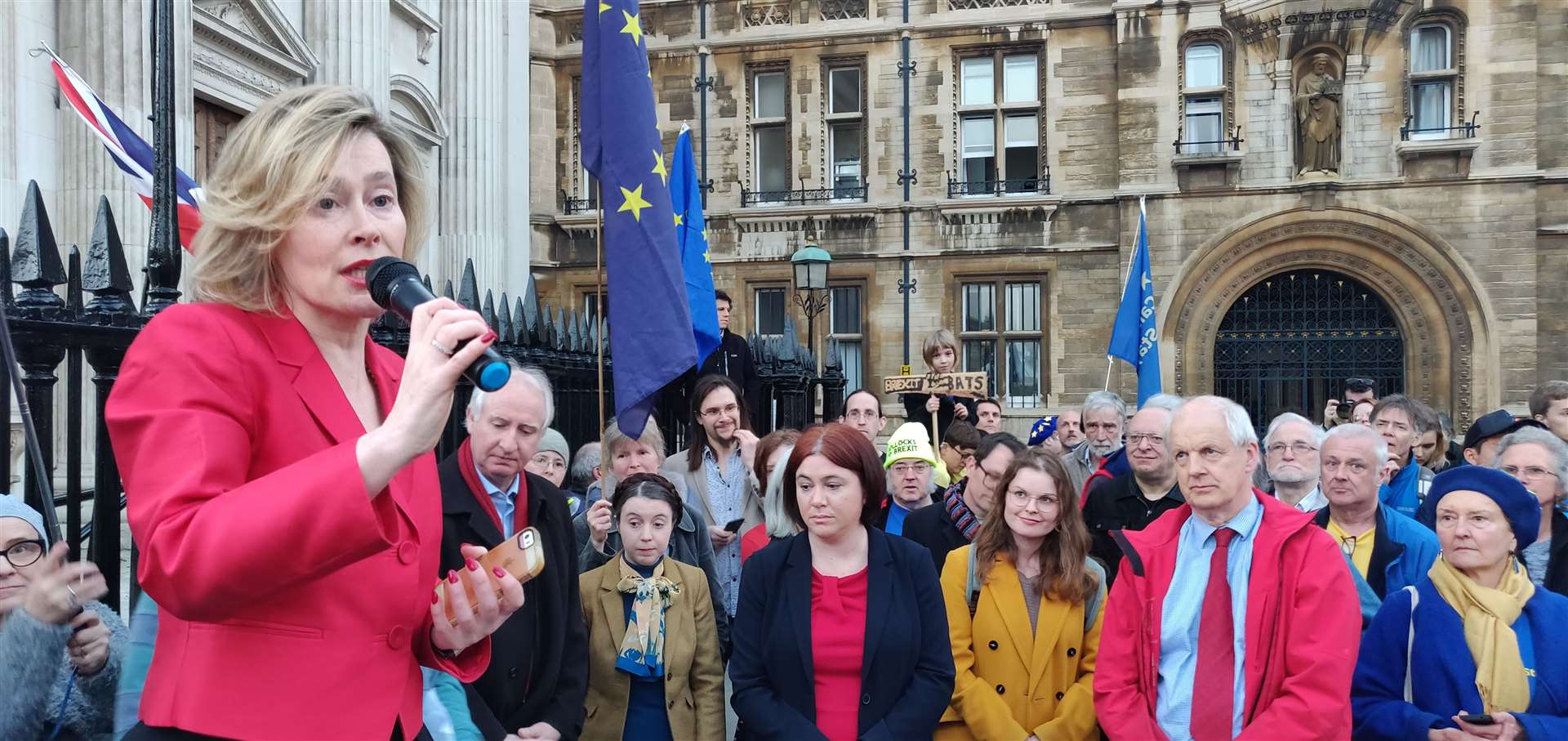 Baroness Smith on Newnham at the Brexit Day rally in Cambridge. Picture: Keith Heppell