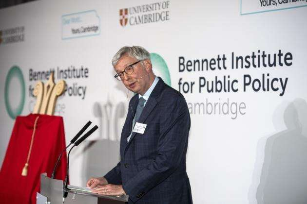 Vice Chancellor Professor Stephen J Toope addresses the audience at Wolfson Hall for the launch of the Bennett Institute for Public Policy. Picture: Keith Heppell