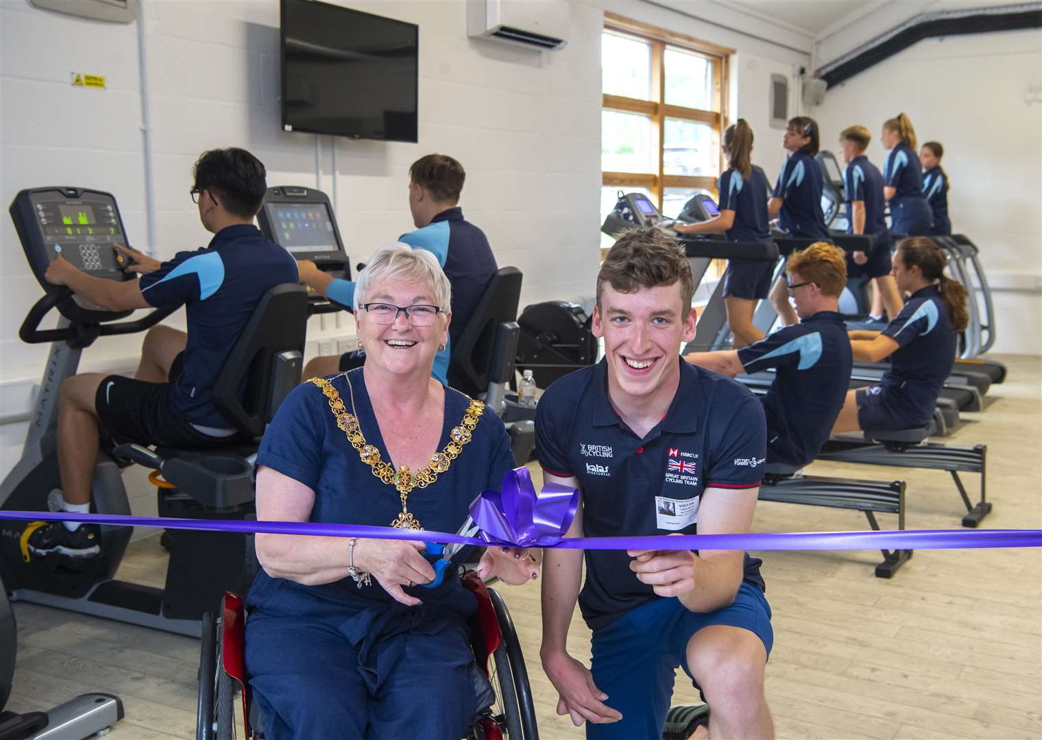 Mayor of Cambridge Councillor Gerri Bird officially opens the new Fitness suite at Netherhall School with Louis Rolfe MBE. Picture: Keith Heppell. (13717168)