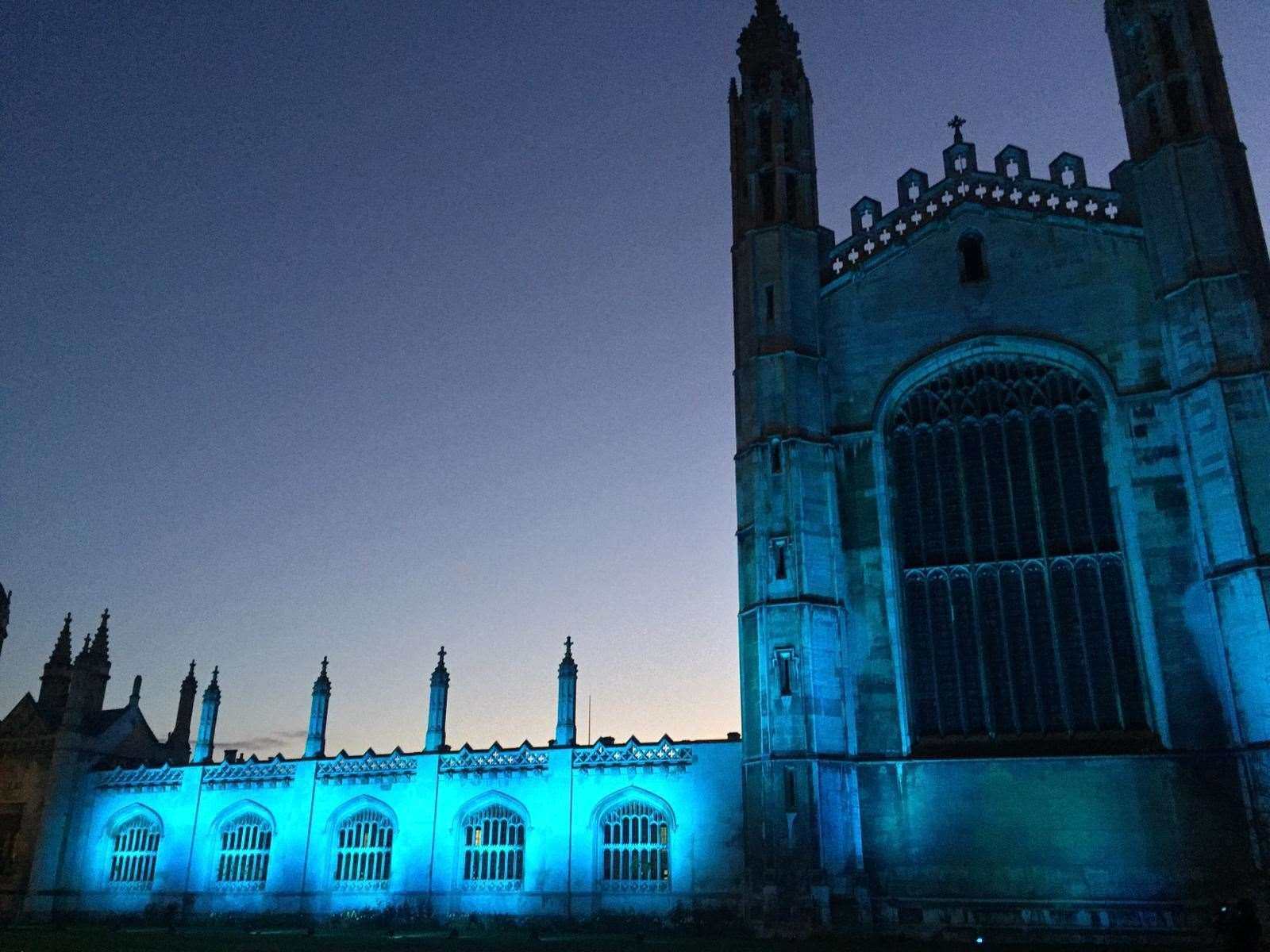 King's College is turned blue to show support for key workers. Picture: The Crane Event (32907363)
