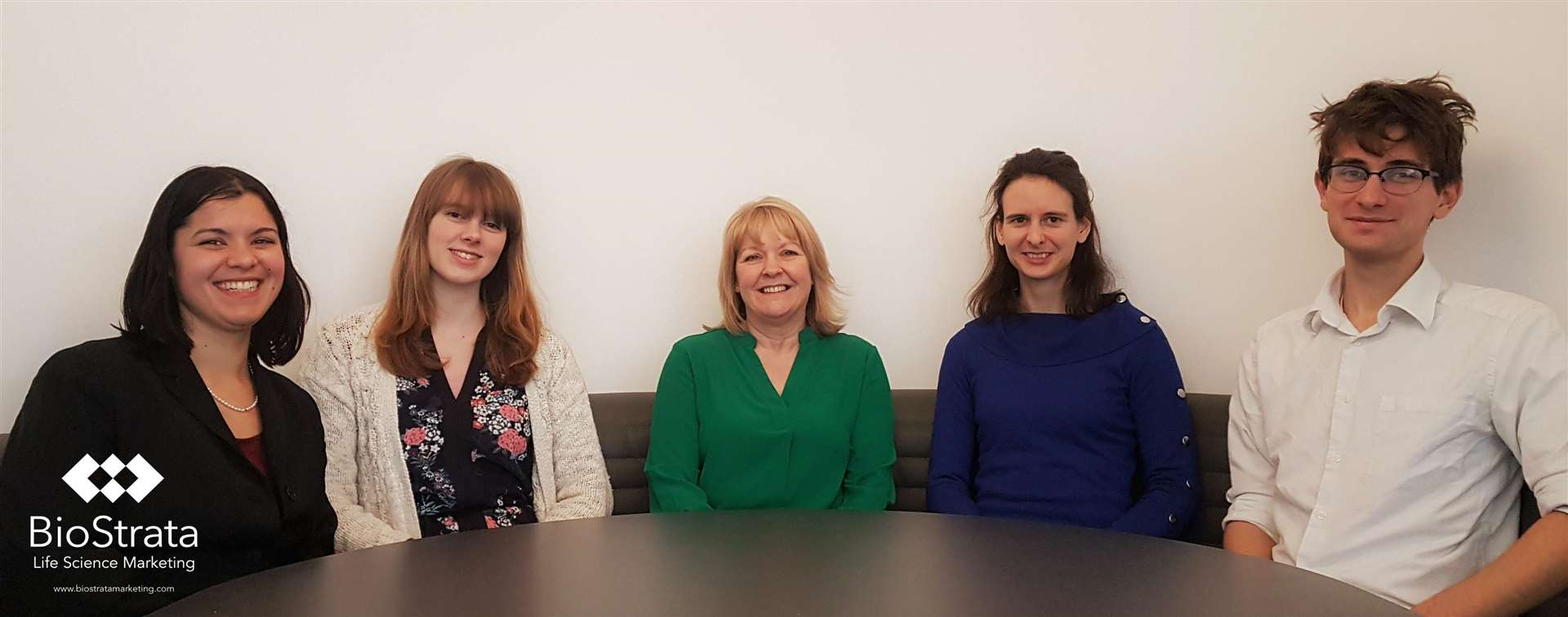 BioStrata's new team members, from left, inbound account director Mira Nair, inbound account executive Rachael Young, office manager and executive assistant Sheridan Cook, science writer Caroline Chambers and PR account executive Sam Willstead (6933725)