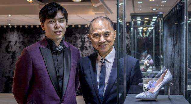 Jimmy Choo (right) with godson Reggie Hung at Cambridge International Arts Centre - R.G Hungs Gallery, 18 Jesus Lane, Cambridge. Picture: Keith Heppell