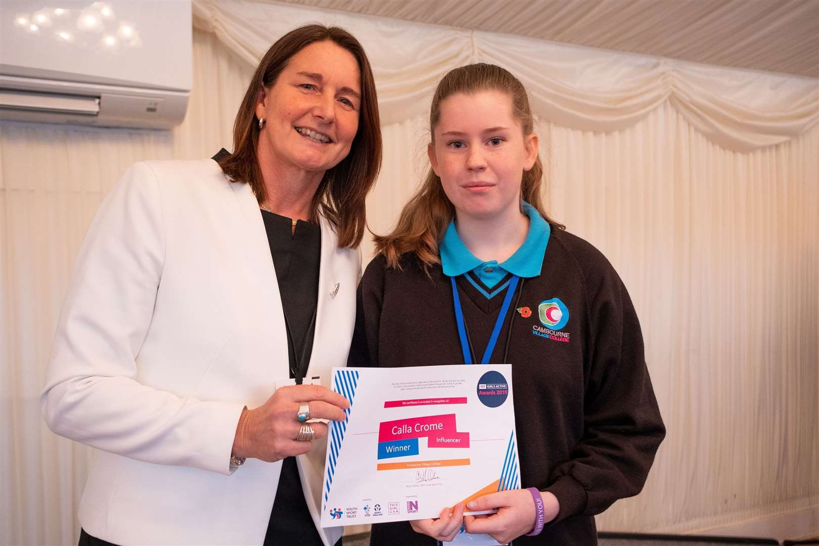 Youth Trust CEO Ali Oliver and Cambourne Village College student Calla Crome. Picture: Isabel Dunmore (21192986)