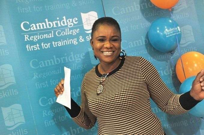 Bisorrat Olawole who has passed her GCSE English and can now go on to study for her Social Work degree at Anglia Ruskin