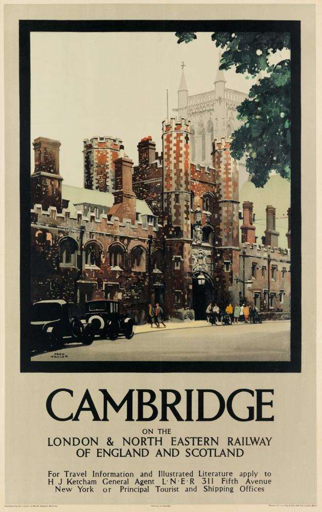 Cambridge vintage travel poster. Picture: Swann Auction Galleries